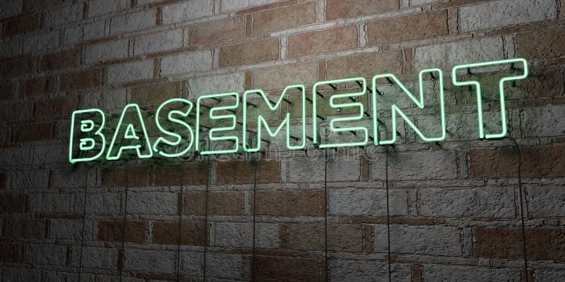 PIWNICA - Rozjarzony Neonowy znak na kamieniarki ścianie - 3D odpłacająca się królewskości bezpłatna akcyjna ilustracja ilustracja wektor