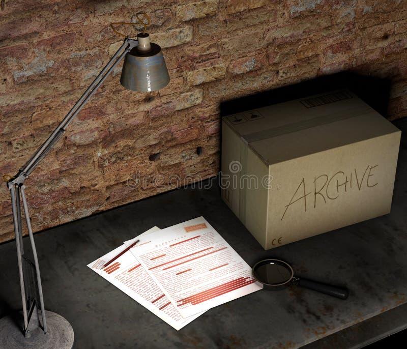 Piwnica stół z pudełkowatą i ściśle tajny kartoteką Stołowa lampa, powiększający - szkło i ołówek Znacząco dokumenty i prześciera royalty ilustracja
