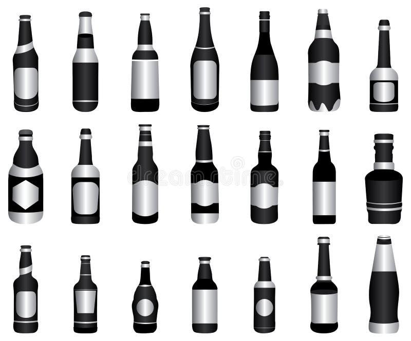 piwny butelek zieleni wino ilustracja wektor