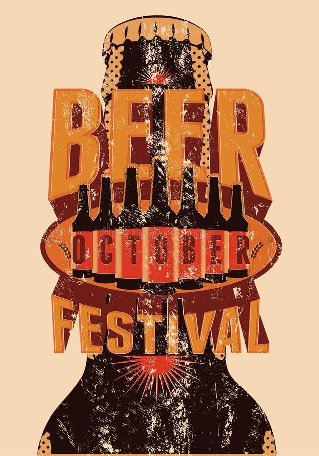 Piwny festiwalu rocznika stylu grunge plakat z piwne butelki retro ilustracyjny wektora ilustracji