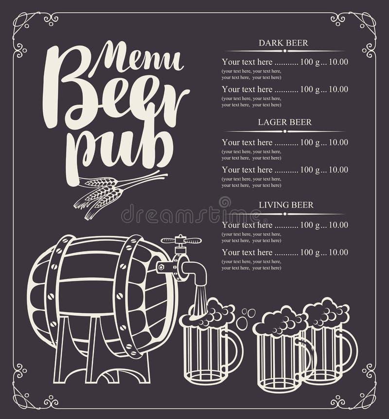Piwny karczemny menu z lufowymi i pełnymi piwnymi szkłami royalty ilustracja