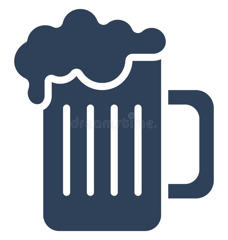 Piwny kubek Odizolowywał Wektorową ikonę która może łatwo modyfikująca lub redagować Piwnego kubek Odizolowywał Wektorową ikonę k ilustracji