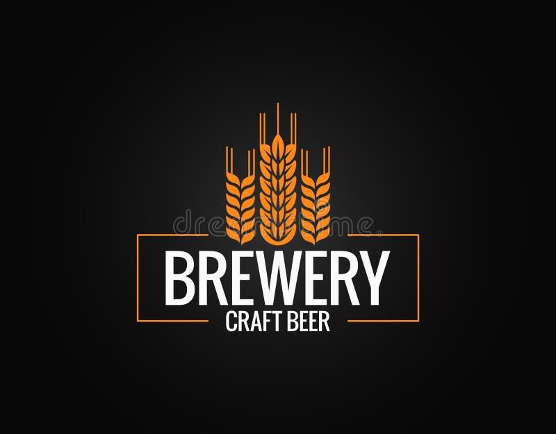 Piwny loga projekt Browar etykietka na czarnym tle ilustracja wektor