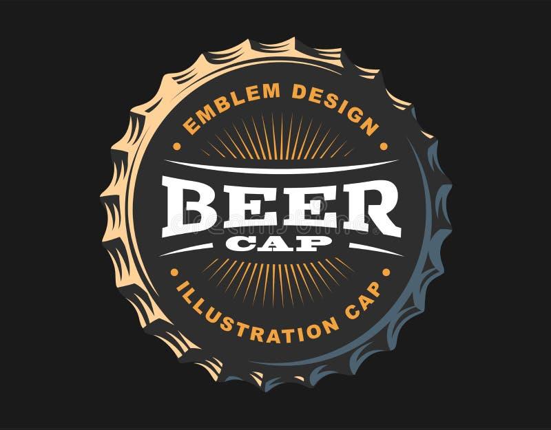 Piwny logo na nakrętce - wektorowa ilustracja, emblemata browaru projekt royalty ilustracja