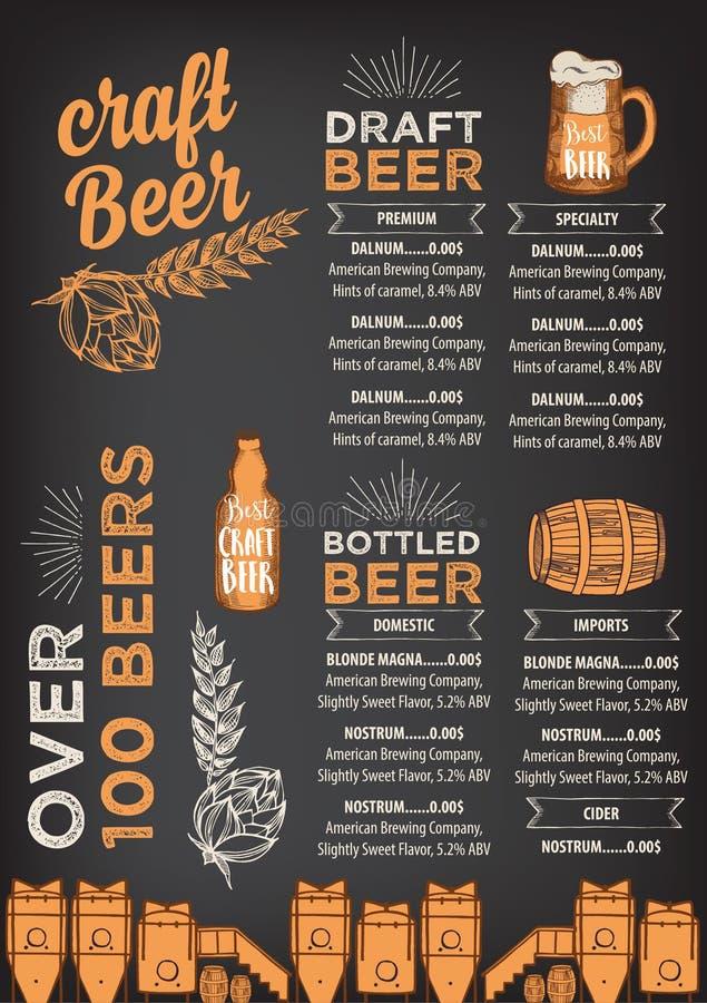 Piwny restauracyjny cukierniany menu, szablonu projekt royalty ilustracja