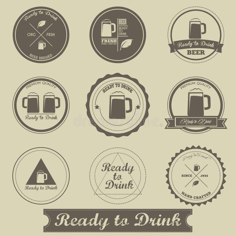 Piwny rocznik etykietki projekt royalty ilustracja