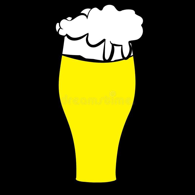 Piwny szkło z kolorem żółtym, światło odurza, smakowity, rzemiosła piwo, lager, gęsty, gęsty piankowy drenować wzdłuż krawędzi na ilustracji