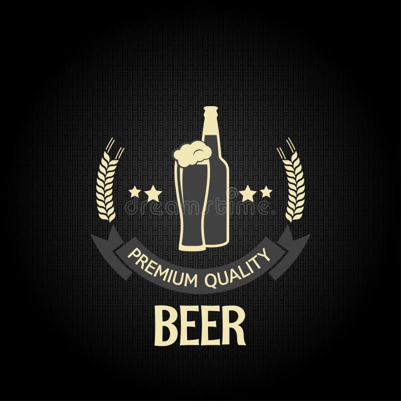 Piwny szklanej butelki projekta menu jęczmienny tło ilustracji