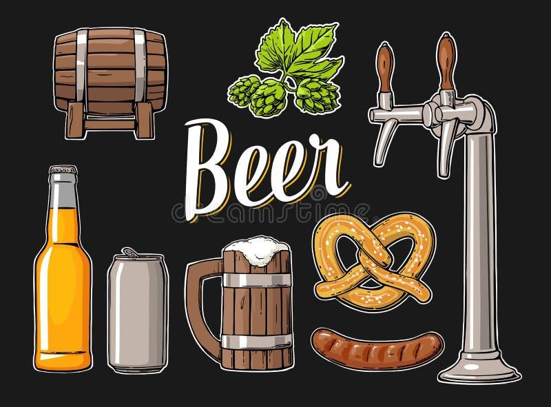 Piwny ustawiający z klepnięciem, klasa, może, butelka, baryłka, kiełbasa, precel i chmiel, ilustracji
