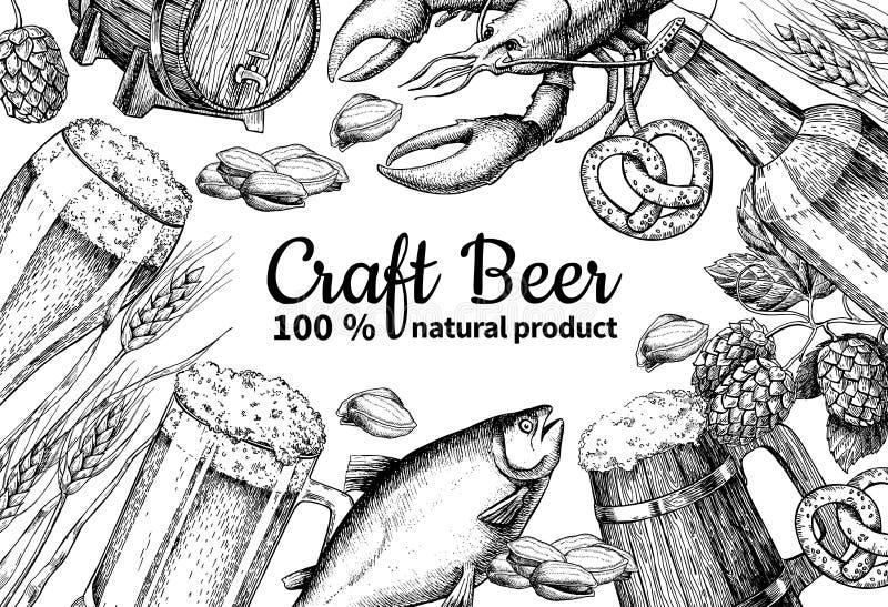 Piwny wektor ramy sztandar Alkoholu napoju ręka rysująca ilustracja Piwny szkło, kubek ilustracji