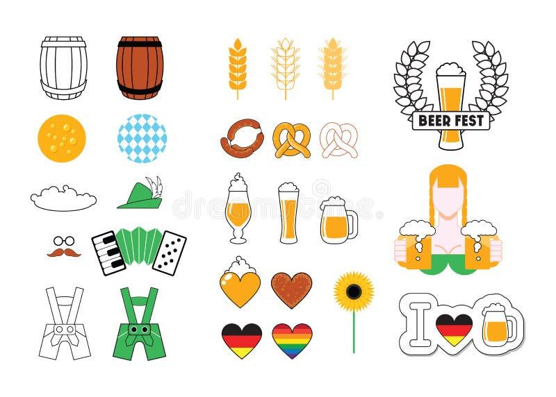 Piwny Wektorowy ikona set ilustracji