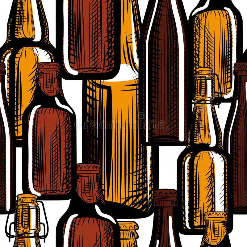 Piwnych butelek bezszwowy wz?r Grawerowa? styl r?ka patroszona ilustracja wektor