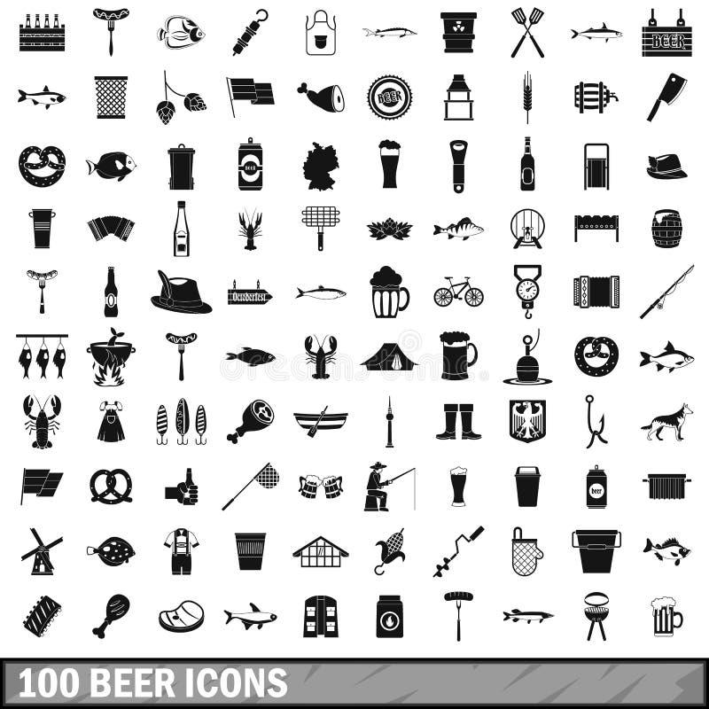100 piwnych ikon ustawiających, prosty styl ilustracja wektor