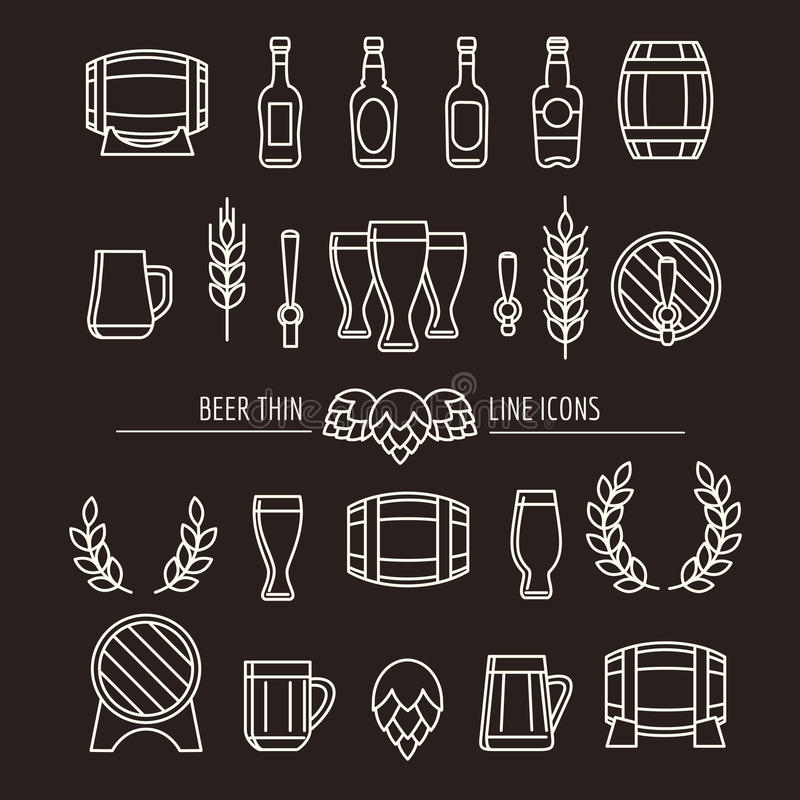 Piwo cienkie kreskowe ikony ilustracja wektor