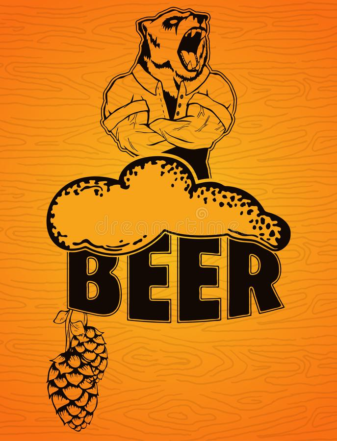 Piwo dla istnych mężczyzna plakatowych na drewnianym tle ilustracja wektor