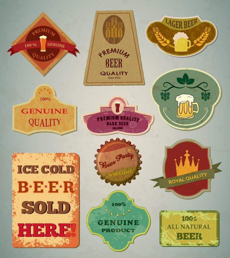 Piwo etykietki royalty ilustracja
