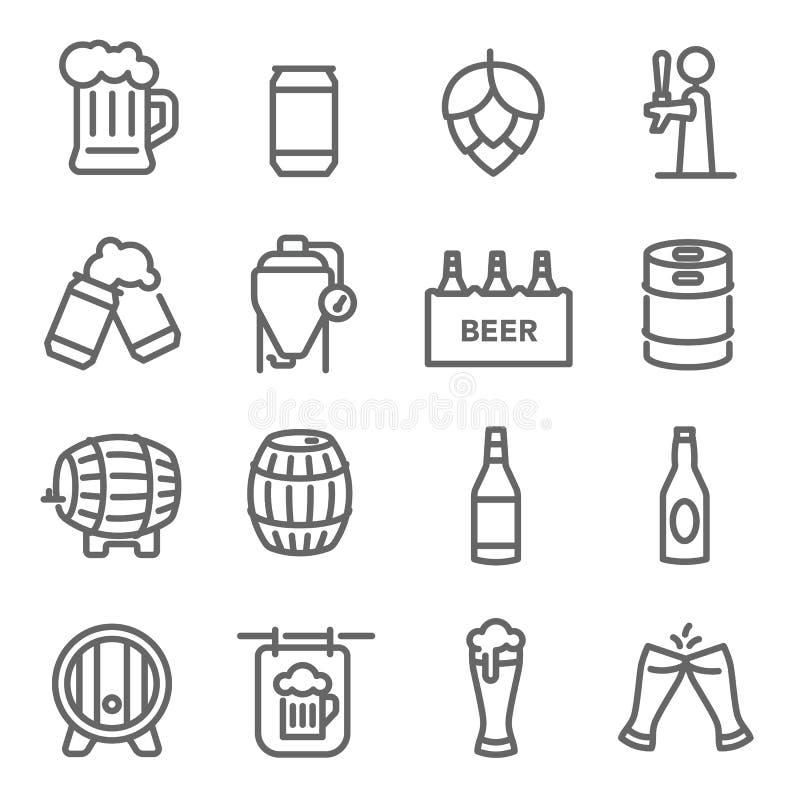 Piwo ikony kreskowy set Zawiera taki ikony które Wykonuje ręcznie piwo, zbiornik, Chmielowy, i więcej Rozprężony uderzenie ilustracji