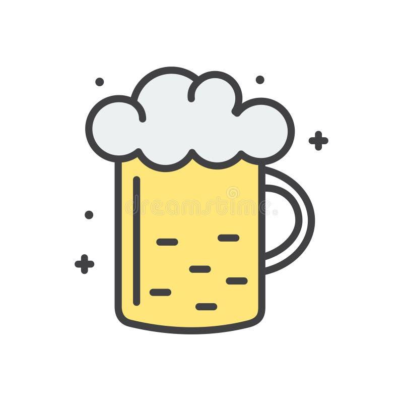 Piwo kreskowa ikona na białym tle dla grafiki i sieci projekta, Nowożytny prosty wektoru znak kolor tła pojęcia, niebieski intern ilustracja wektor