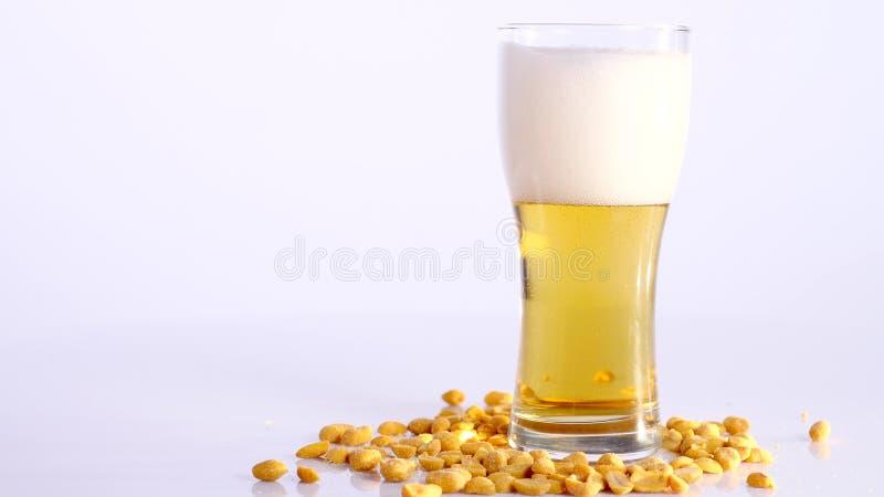 Piwo nalewa w szkło na białym tle z Kiszonymi arachidami zdjęcia royalty free