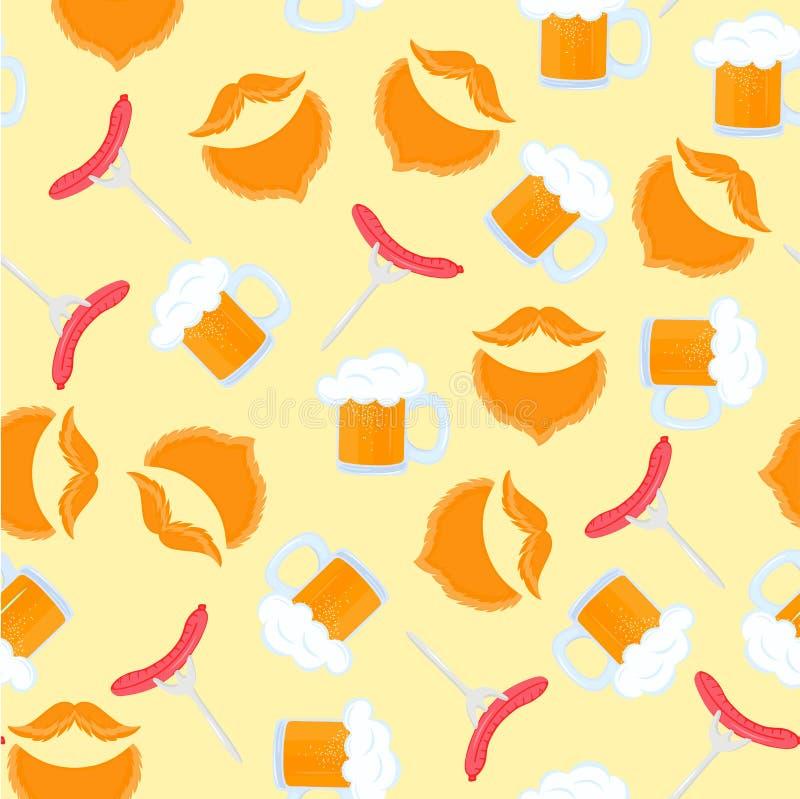 piwo pianki kubek Kie?basiany grill na rozwidleniu Tradycyjni Niemieccy ciasta Krajowy jedzenie Oktoberfest Bezszwowy wz?r samiec ilustracja wektor