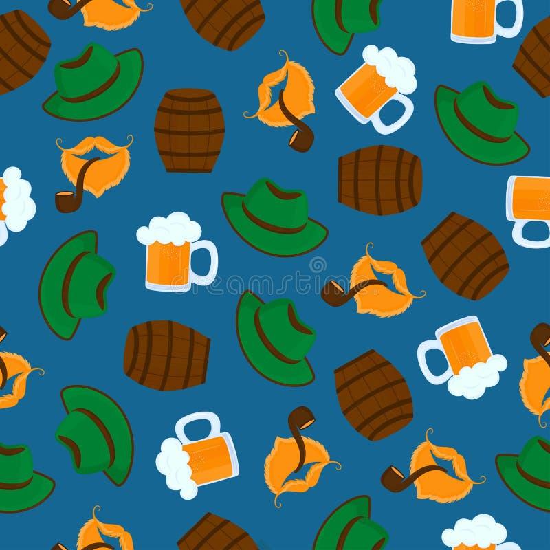 piwo pianki kubek zielony kapelusz M?skie brody i w?sy t?o odizolowywaj?cy fajczany dymienia biel Oktoberfest bezszwowy wz?r ilustracji
