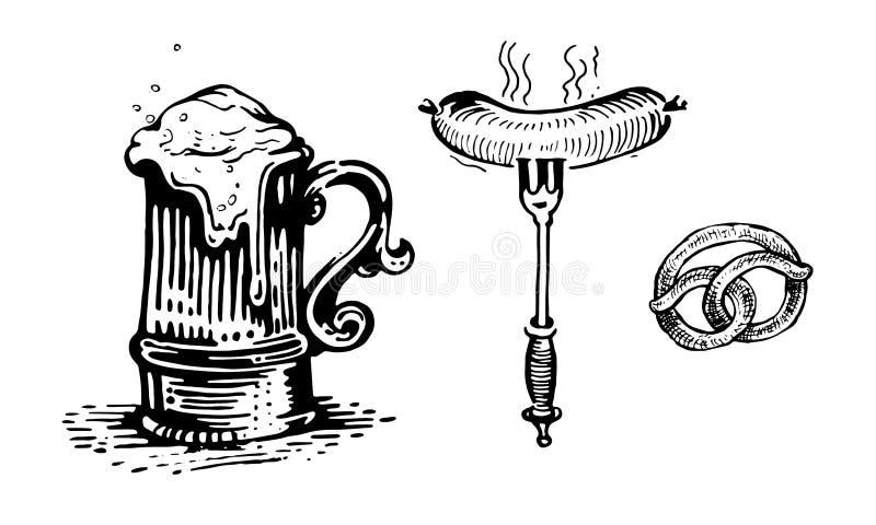 Piwo, piwny kubek, kiełbasa, rozwidlenie, bagel, wektor protestuje ilustracja wektor