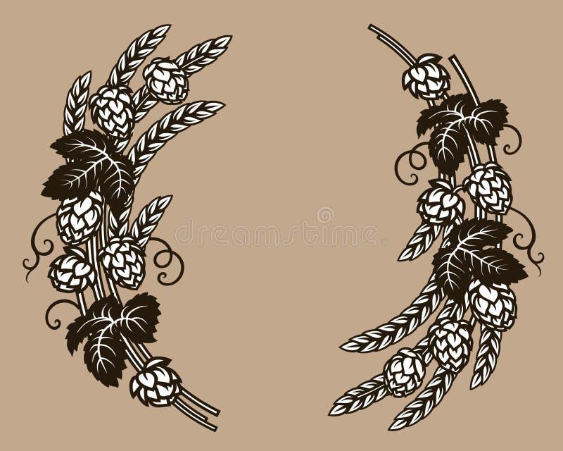 Piwo podskakuje gałąź z pszenicznymi jęczmiennymi ucho, liśćmi i chmiel rożkami, Elementy dla browaru projekta, piwny prodaction, royalty ilustracja