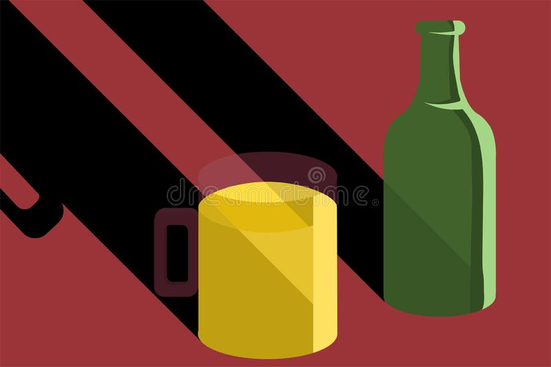 piwo w butelce i piwo w szklanym wektorze fotografia royalty free