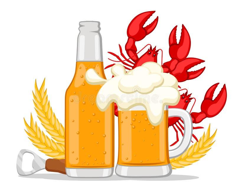 Piwo w butelce i szkle z czerwonymi homarami na bielu royalty ilustracja