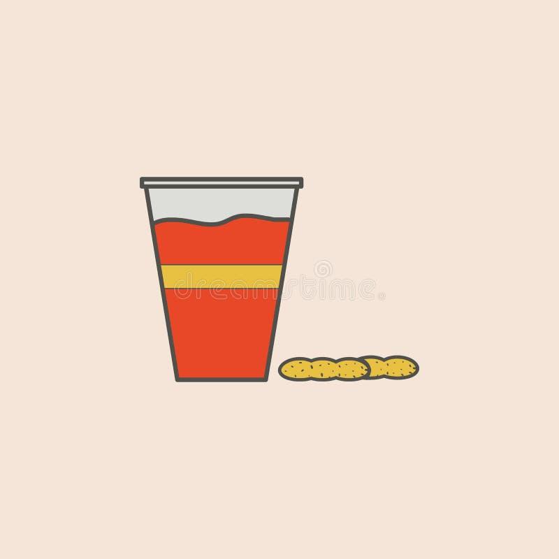 piwo w plastikowej szkła i dokrętek ikonie Element fast food ikona dla mobilnych pojęcia i sieci apps Śródpolny konturu piwo w pl royalty ilustracja