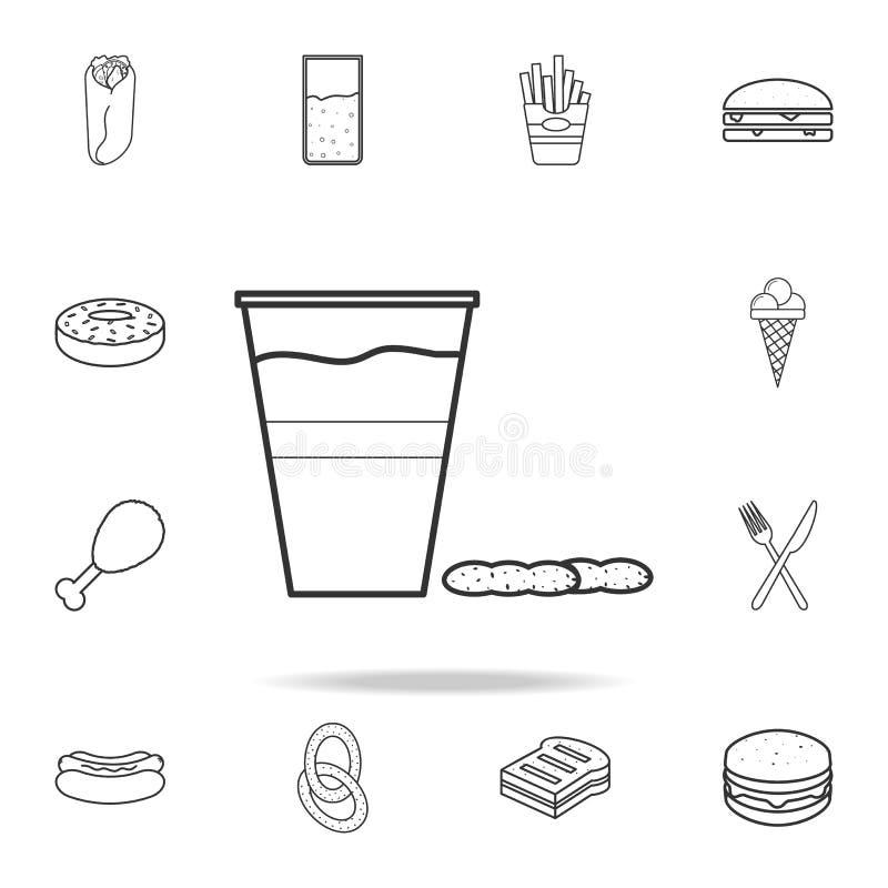 piwo w plastikowej szkła i dokrętek ikonie Szczegółowy set fast food ikony Premii ilości graficzny projekt Jeden inkasowe ikony ilustracja wektor