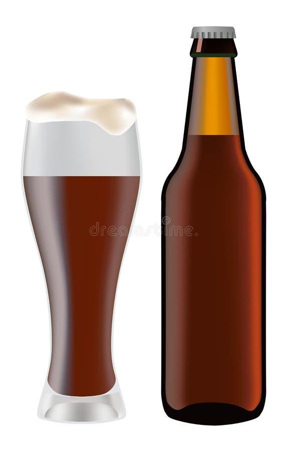 Piwo w szkle i ciemnej butelce piwo royalty ilustracja