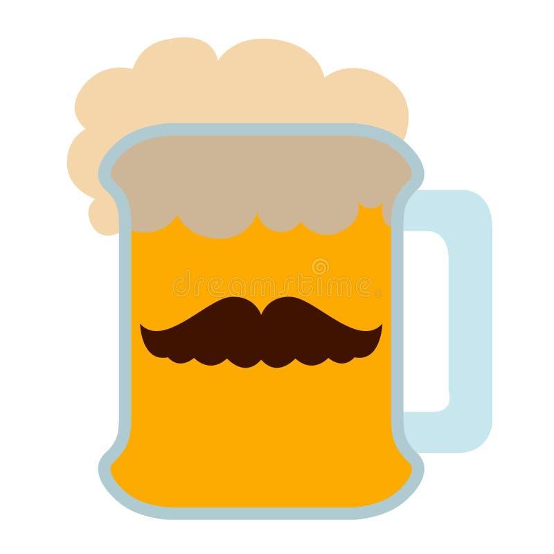 Piwo z wąsy ikoną royalty ilustracja