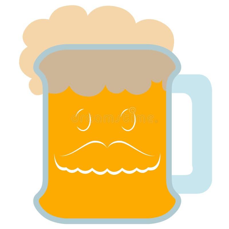 Piwo z wąsy ikoną ilustracja wektor
