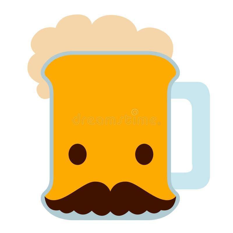 Piwo z wąsy ikoną ilustracji