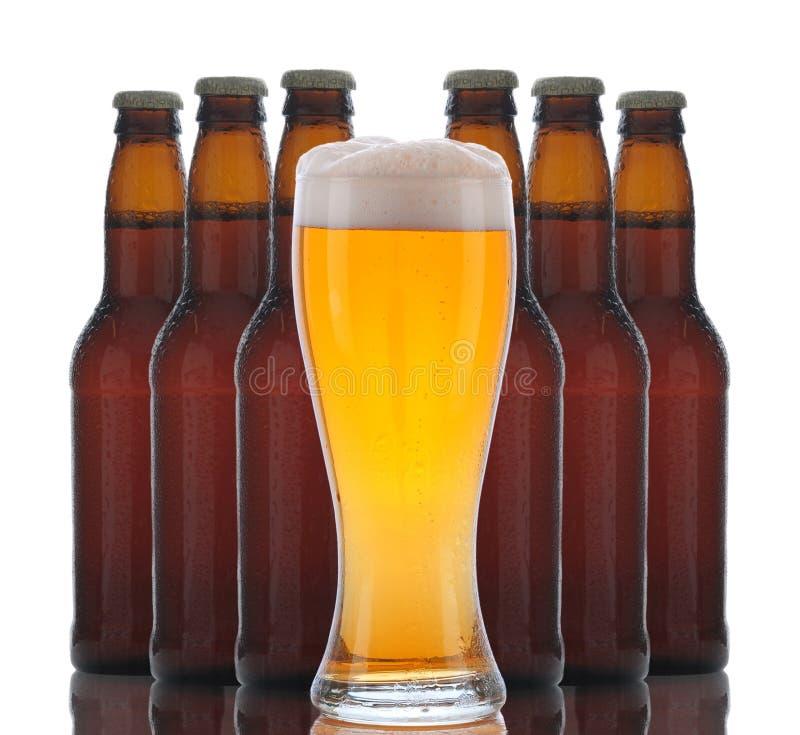 piwo za butelkami szklanymi fotografia stock
