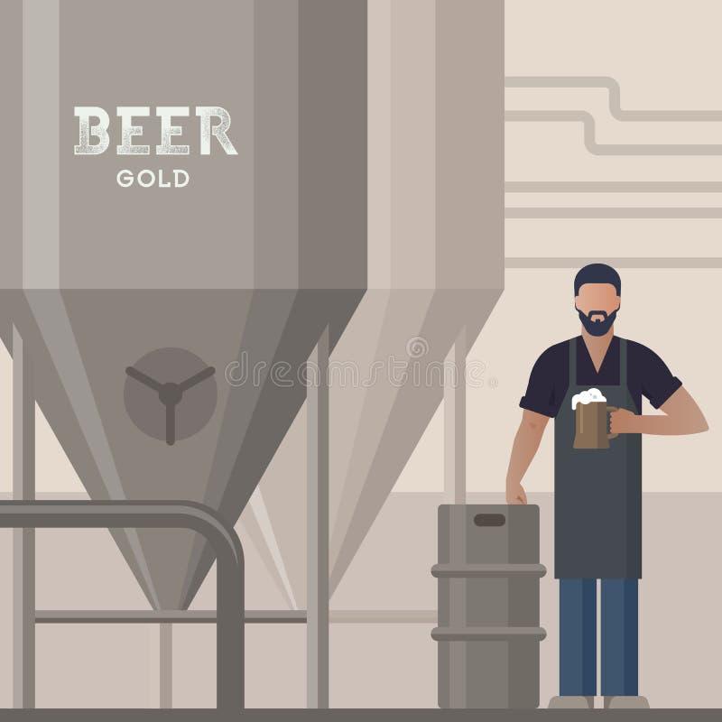Piwowar demonstruje piwną produkcję w swój browarze z piwem w ręce ilustracja wektor