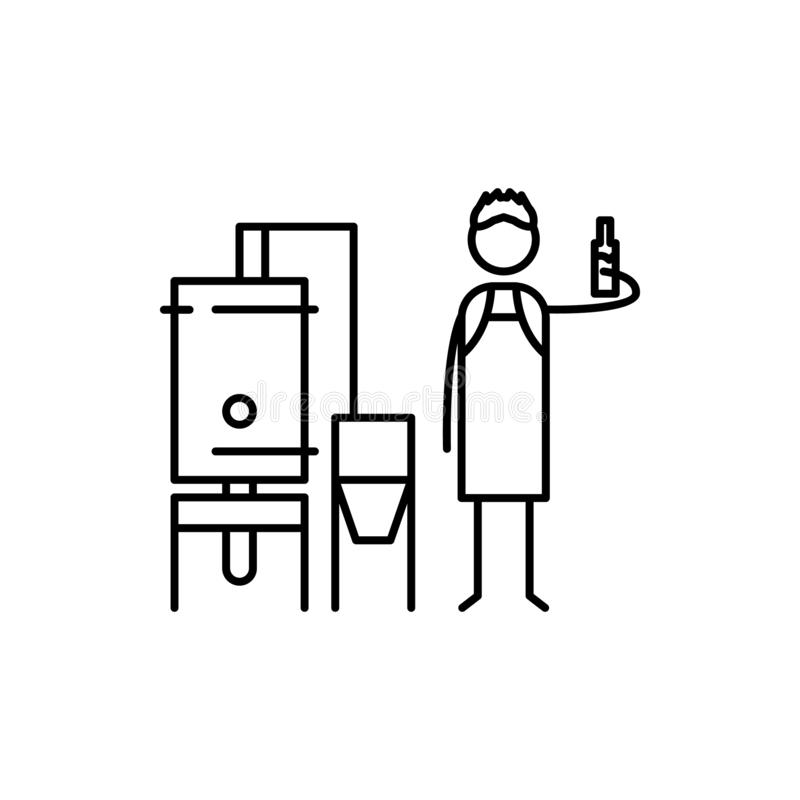 piwowar ikona Element ludzka hobby ikona dla mobilnych pojęcia i sieci apps Cienka kreskowa piwowar ikona może używać dla sieci i royalty ilustracja