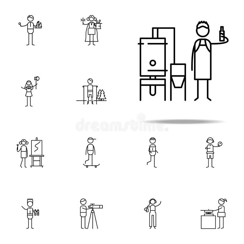 piwowar ikona hobbie ikon ogólnoludzki ustawiający dla sieci i wiszącej ozdoby ilustracja wektor