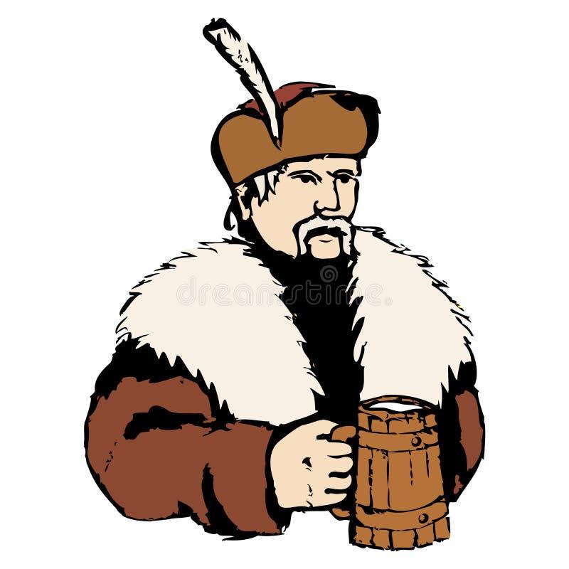 Piwowar z piwem ilustracja wektor