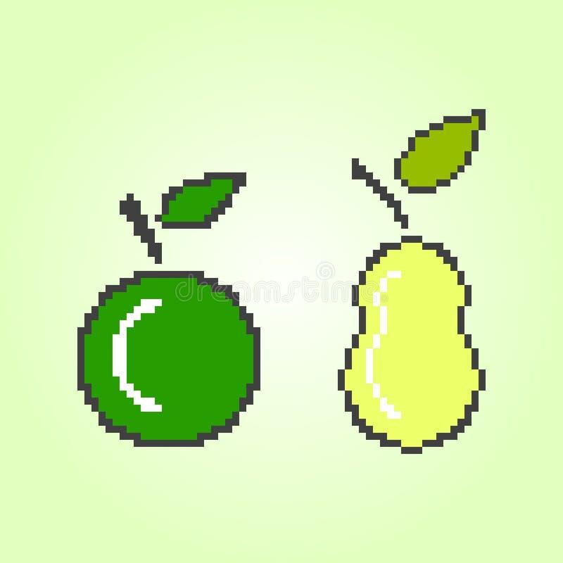 PIXELäpple och päron Vektorillustration på en gul bakgrund vektor illustrationer