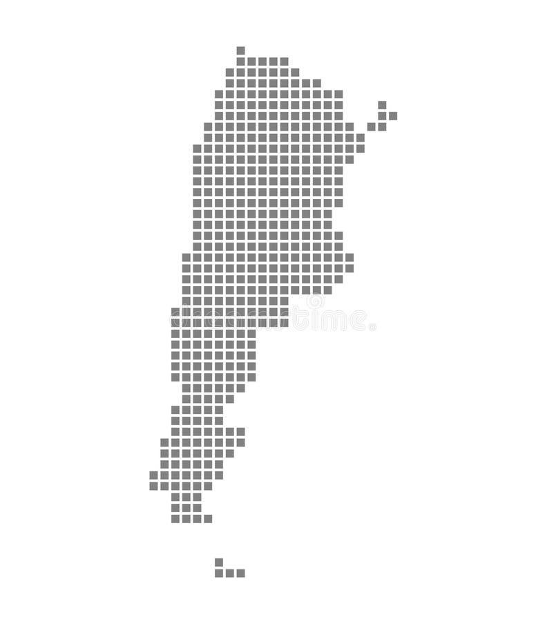 PIXELöversikt av Argentina Vektorn prack översikten av Argentina isolerade på vit bakgrund Abstrakt datordiagram av den Argentina royaltyfri illustrationer