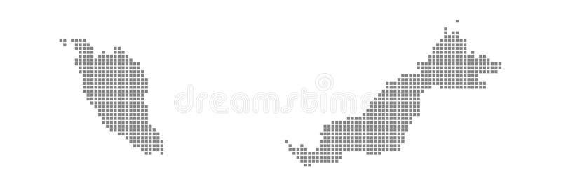 PIXELöversikt av Malaysia Vektorn prack översikten av Malaysia isolerade på vit bakgrund Abstrakt datordiagram av den Malaysia öv stock illustrationer