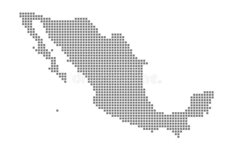 PIXELöversikt av Mexico Vektorn prack översikten av Mexico isolerade på vit bakgrund Abstrakt datordiagram av den Mexico översikt royaltyfri illustrationer