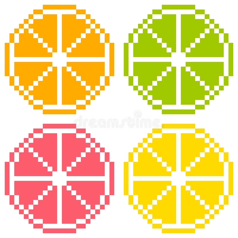 pixel à 8 bits Art Citrus Fruit Slices - orange, chaux, pamplemousse, illustration libre de droits