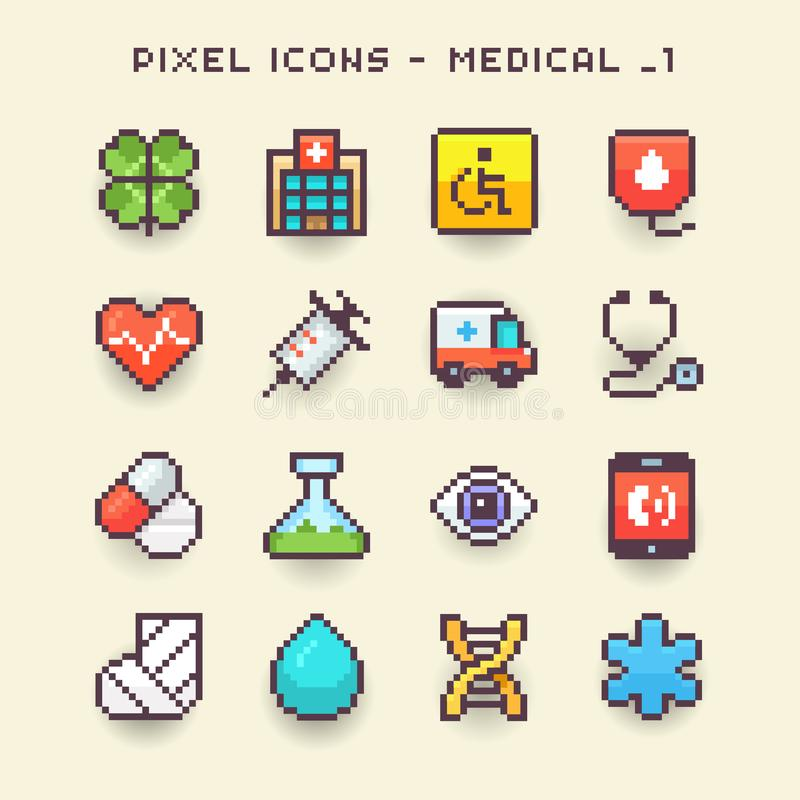 Pixel 1 ícone-médico ilustração do vetor