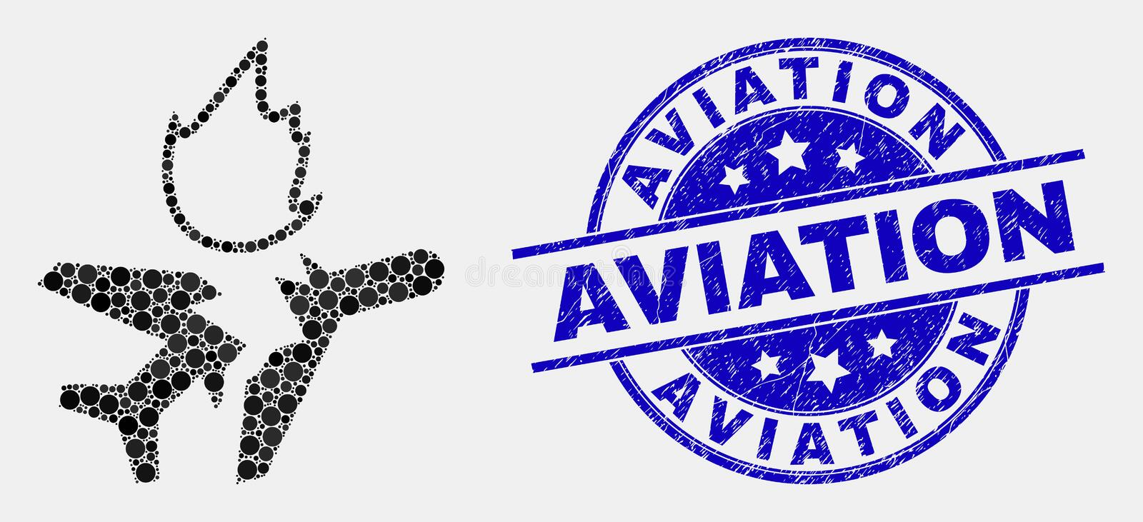 Vector Dot Airplane Crash Icon and Distress Aviation Stamp. Pixel airplane crash mosaic icon and Aviation seal. Blue vector round textured stamp with Aviation vector illustration