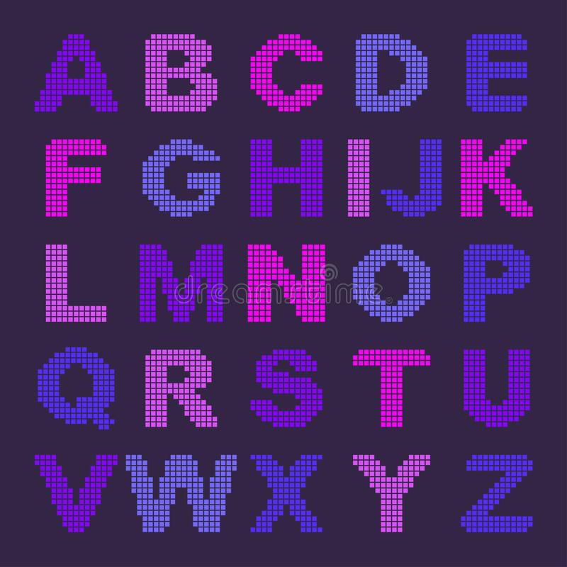 Pixel Alphabet With Colored Letters Stock Illustration
