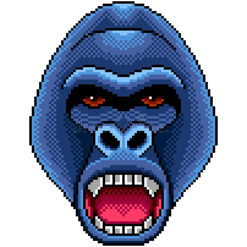 Pixel angry gorilla portrait isolated vector vector illustration