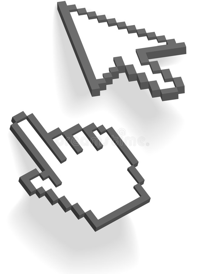 Pixel arrow hand 3D cursors point on shadows royalty free illustration